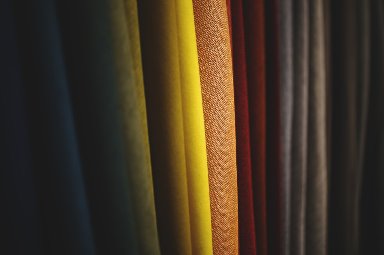 arrangement of fabric creating color gradation
