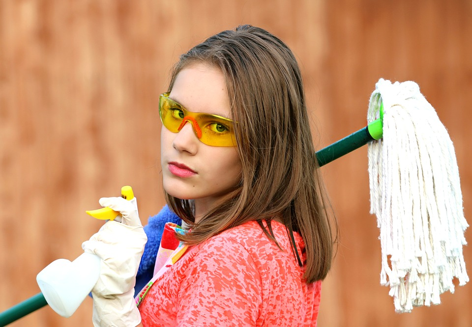 woman cleaning a house